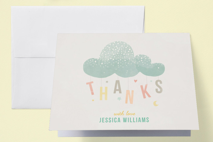 cloud charm baby shower thank you cards by heather minted