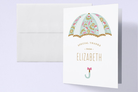 Beautiful Umbrella Baby Shower Thank You Cards