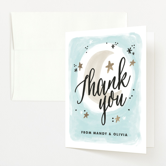 """""""Moonlit"""" - Whimsical & Funny Baby Shower Thank You Cards in Sky by Alethea and Ruth."""