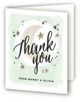This is a green baby shower thank you card by Alethea and Ruth called Moonlit with standard printing on strathmore in standard.