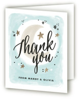 This is a blue baby shower thank you card by Alethea and Ruth called Moonlit with standard printing on strathmore in standard.