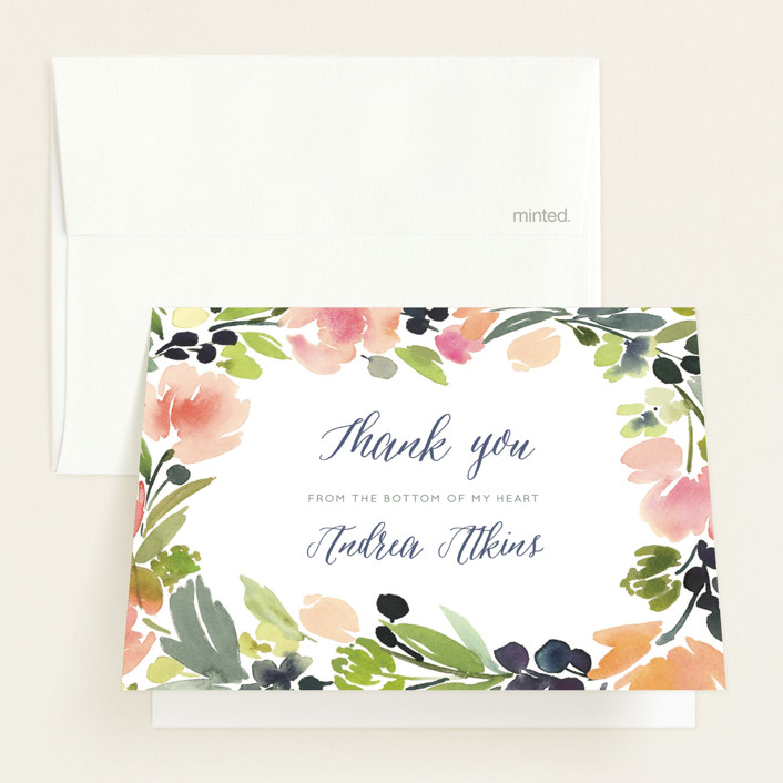 """""""Watercolor Wreath"""" - Floral & Botanical Baby Shower Thank You Cards in Grapefruit by Yao Cheng Design."""