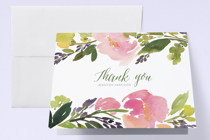"""""""Watercolor Floral"""" - Floral & Botanical Baby Shower Thank You Cards in Olive by Yao Cheng Design."""