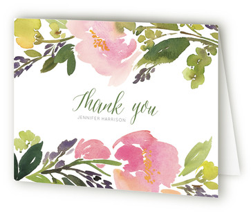 Watercolor Floral Baby Shower Thank You Cards