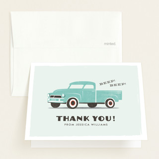 vintage baby truck Baby Shower Thank You Cards