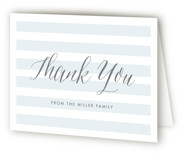 This is a blue baby shower thank you card by Lauren Chism called Sleek with standard printing on strathmore in standard.