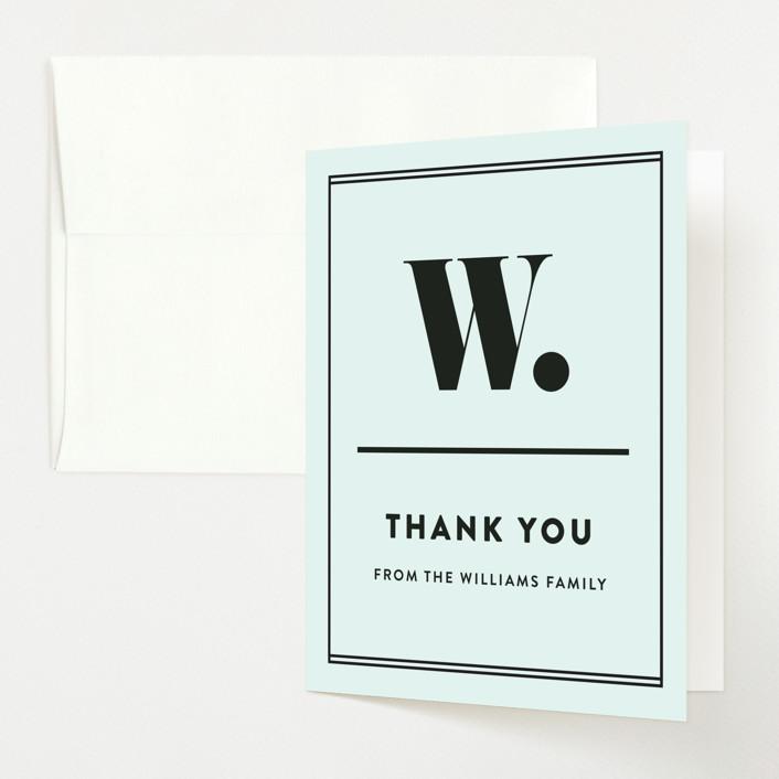 """Numero"" - Baby Shower Thank You Cards in Powder Blue by Dawn Jasper."