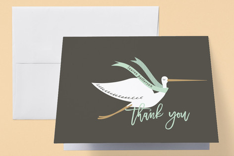 Stork Banner Baby Shower Thank You Cards