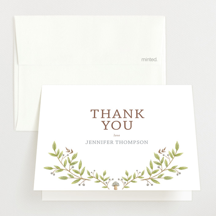 """Enchanted Lullaby"" - Baby Shower Thank You Cards in Latte by Paula Pecevich."