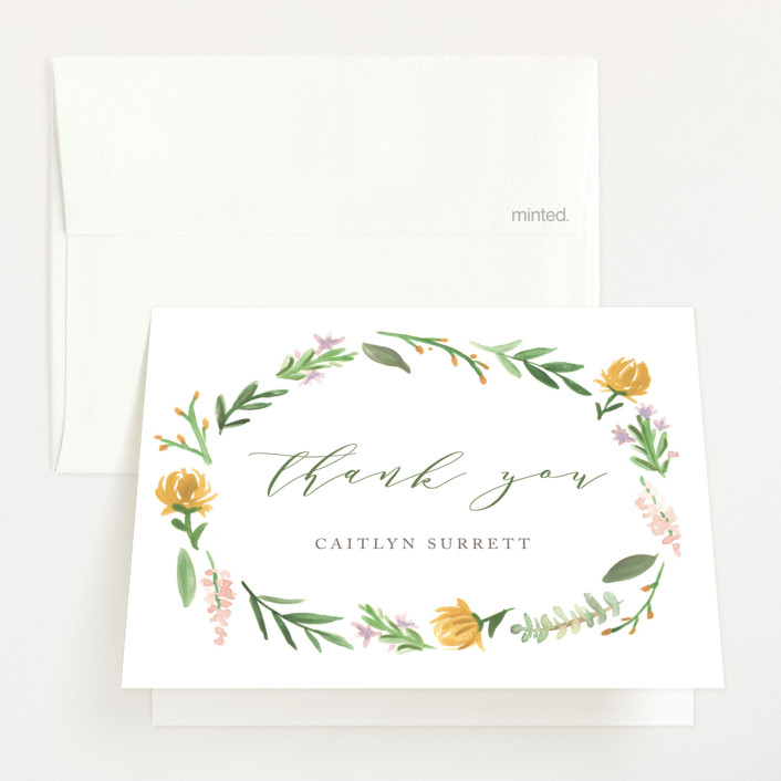 """""""English Garden"""" - Baby Shower Thank You Cards in Goldenrod by Amy Kross."""