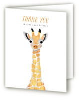 This is a colorful baby shower thank you card by Cass Loh called Baby Animal Giraffe with standard printing on strathmore in standard.