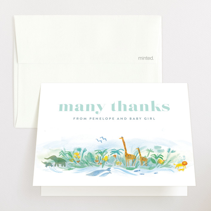 """""""Whole World"""" - Baby Shower Thank You Cards in Whale by Rebecca Daublin."""