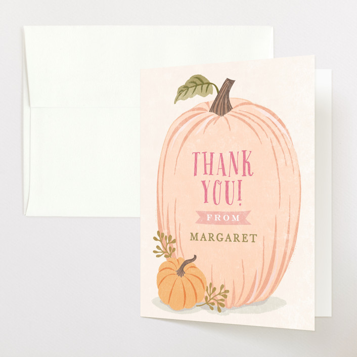 """Autumn Pumpkin"" - Baby Shower Thank You Cards in Peach by Karidy Walker."