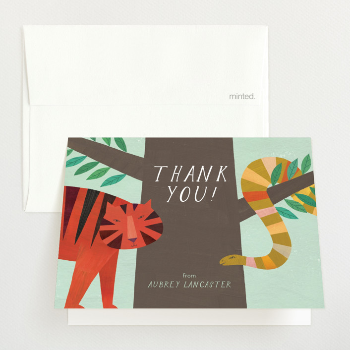 """Jungle Animals"" - Baby Shower Thank You Cards in Forest by melanie mikecz."