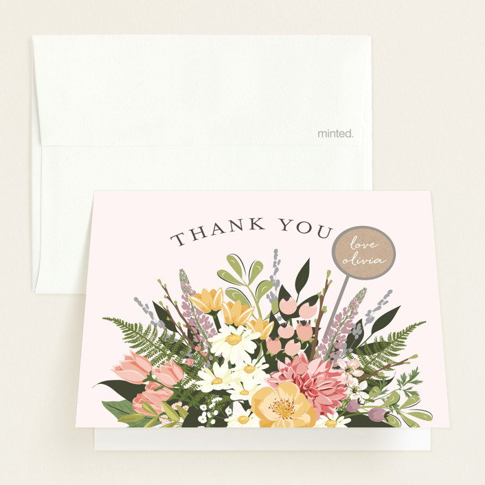 """""""Flowers & Greens"""" - Baby Shower Thank You Cards in Blush by Susan Moyal."""