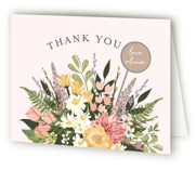 This is a pink baby shower thank you card by Susan Moyal called Flowers & Greens with standard printing on strathmore in standard.