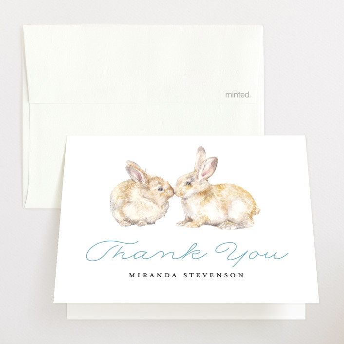"""Snuggling Bunnies"" - Baby Shower Thank You Cards in Pond by Lauren Rogoff."