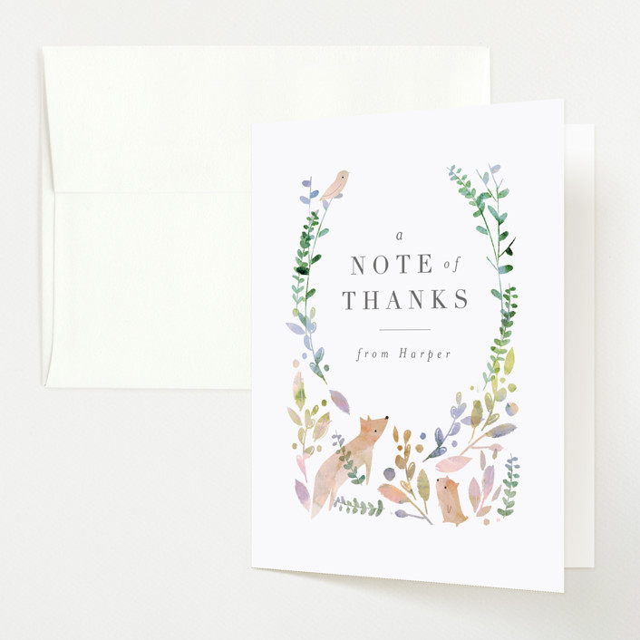 """""""Woodland"""" - Baby Shower Thank You Cards in Forest by Lori Wemple."""