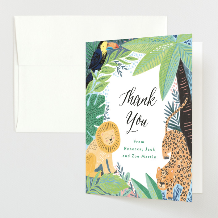 """""""Jungle Animal Sketchbook"""" - Baby Shower Thank You Cards in Canary by Alethea and Ruth."""