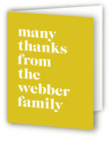 This is a yellow baby shower thank you card by Roxy Cervantes called Modern Block with standard printing on strathmore in standard.