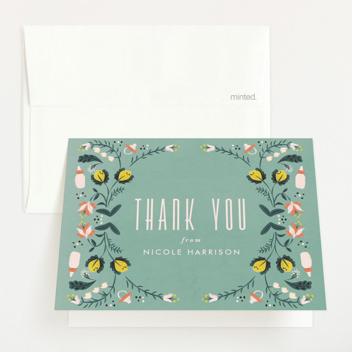 """""""Framed by nature"""" - Baby Shower Thank You Cards in Pear by Ana de Sousa."""