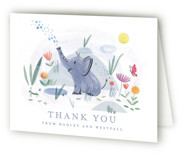 This is a blue baby shower thank you card by Morgan Ramberg called Playful Elephants with standard printing on strathmore in standard.