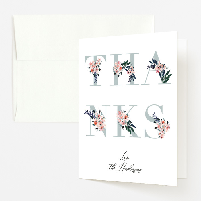 """""""Baby's Alphabet"""" - Baby Shower Thank You Cards in Sky by Nicole Whiddon."""