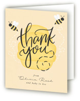 This is a yellow baby shower thank you card by Ally Madison called mom to bee with standard printing on strathmore in standard.