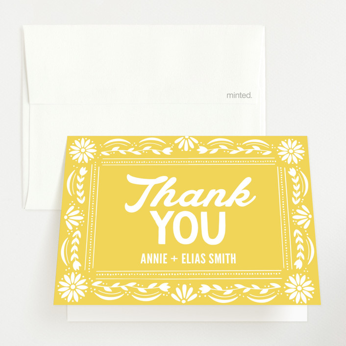 """""""Pretty Picado"""" - Baby Shower Thank You Cards in Marigold by Jessie Steury."""