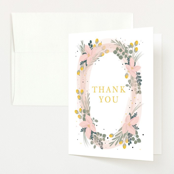 """Floral Oval"" - Baby Shower Thank You Cards in Blush by Bethany Anderson."