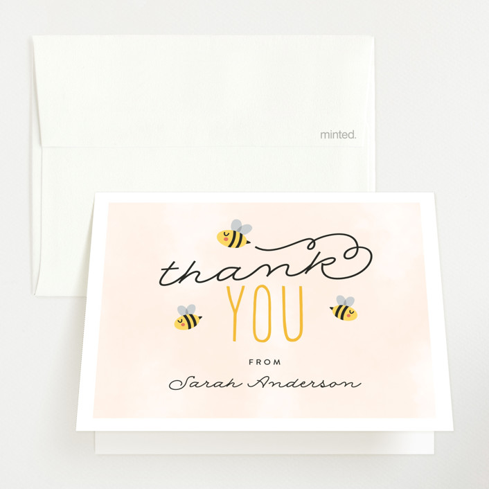 """Ba-beez"" - Whimsical & Funny Baby Shower Thank You Cards in Sunshine by Ink and Letter."