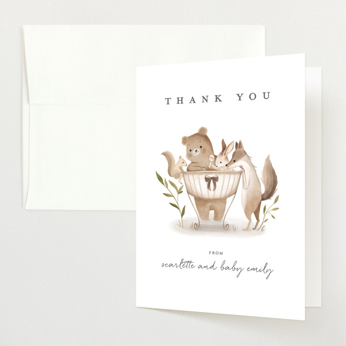 """Woodland Baby"" - Whimsical & Funny Baby Shower Thank You Cards in Neutral by Vivian Yiwing."