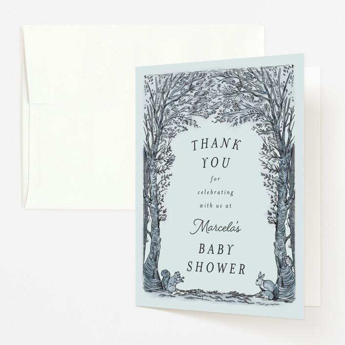 """Victorian Forest Scene"" - Whimsical & Funny Baby Shower Thank You Cards in Mint by Becky Nimoy."
