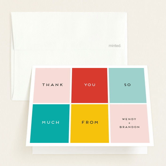 """Color Blocking"" - Modern Baby Shower Thank You Cards in Blush by Genna Blackburn."
