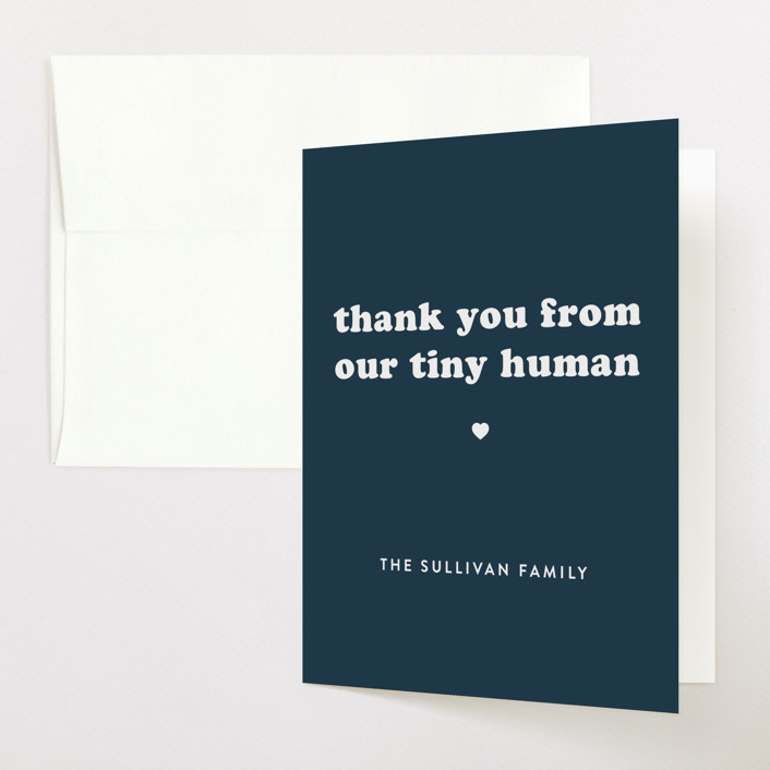 """Tiny Human"" - Funny Baby Shower Thank You Cards in Whale by Bonjour Berry."