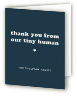 This is a blue baby shower thank you card by Corinne Malesic called Tiny Human with standard printing on strathmore in standard.