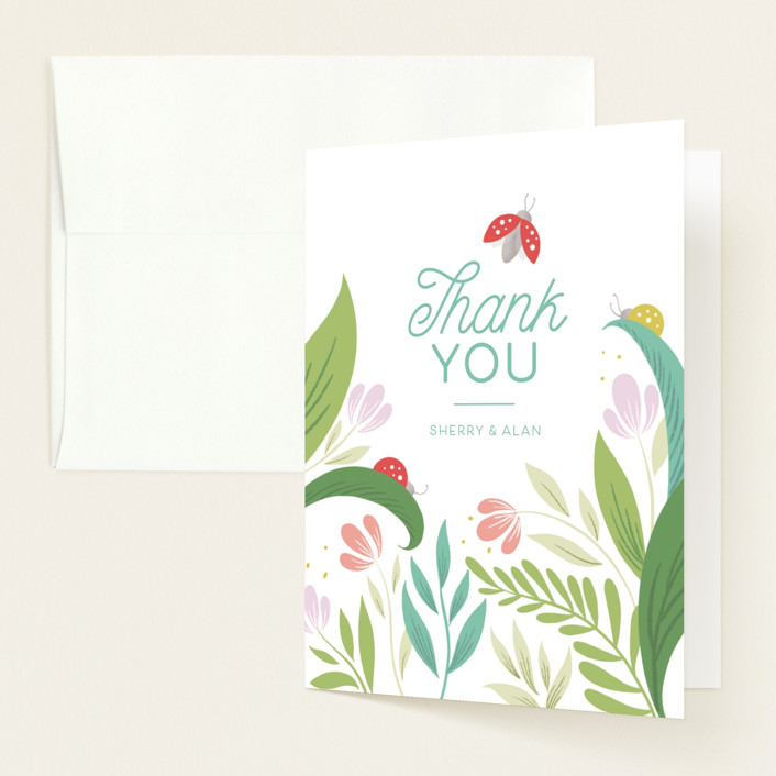 """""""Little Love Bug"""" - Baby Shower Thank You Cards in Ladybug by Gia Graham."""
