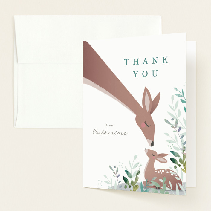 """""""forest fawn and mama deer"""" - Whimsical & Funny Baby Shower Thank You Cards in Lake by Karidy Walker."""