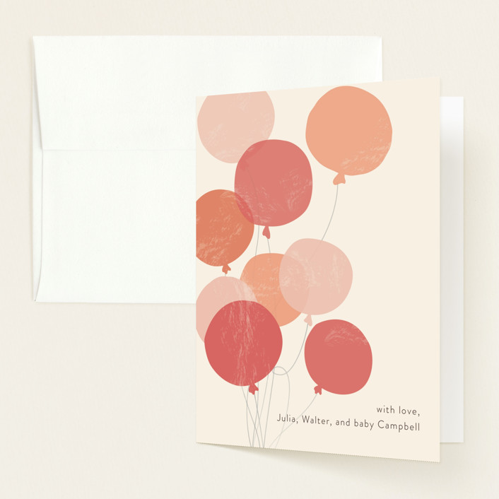 """Party at my crib"" - Whimsical & Funny Baby Shower Thank You Cards in Coral by Laura Condouris."