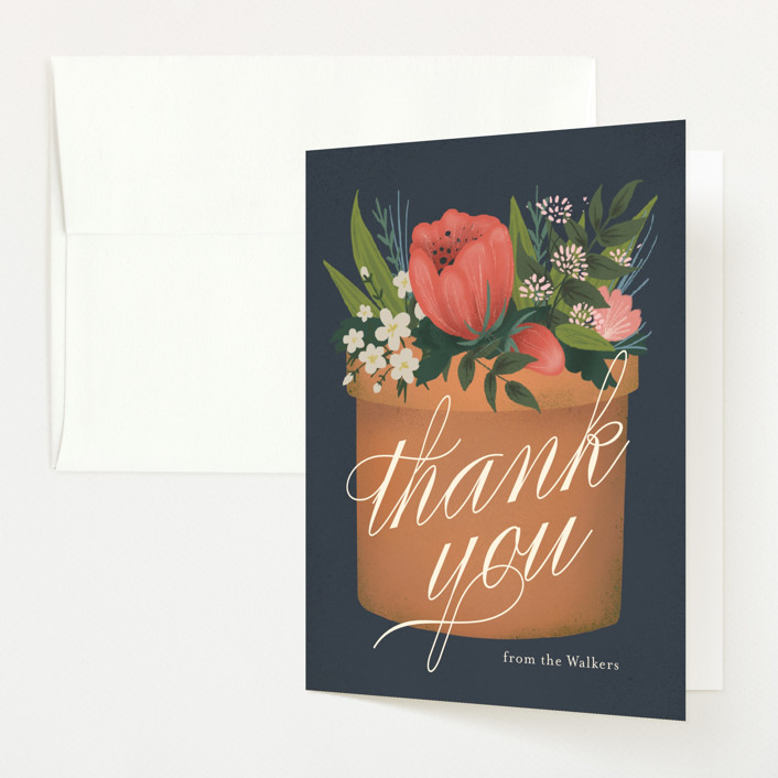 """a garden of new life"" - Baby Shower Thank You Cards in Navy by Heather Francisco."