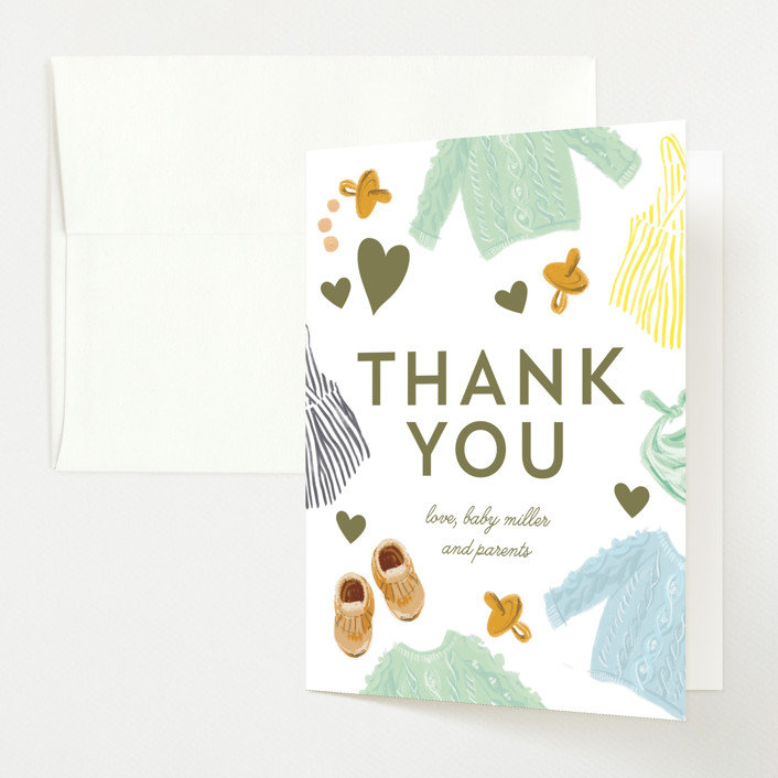 """Happy Heart"" - Whimsical & Funny Baby Shower Thank You Cards in Evergreen by Baumbirdy."