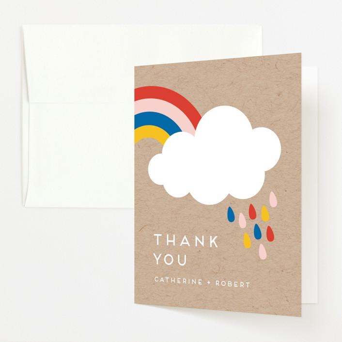 Rainbow Rain Baby Shower Thank You Cards by Genna ...