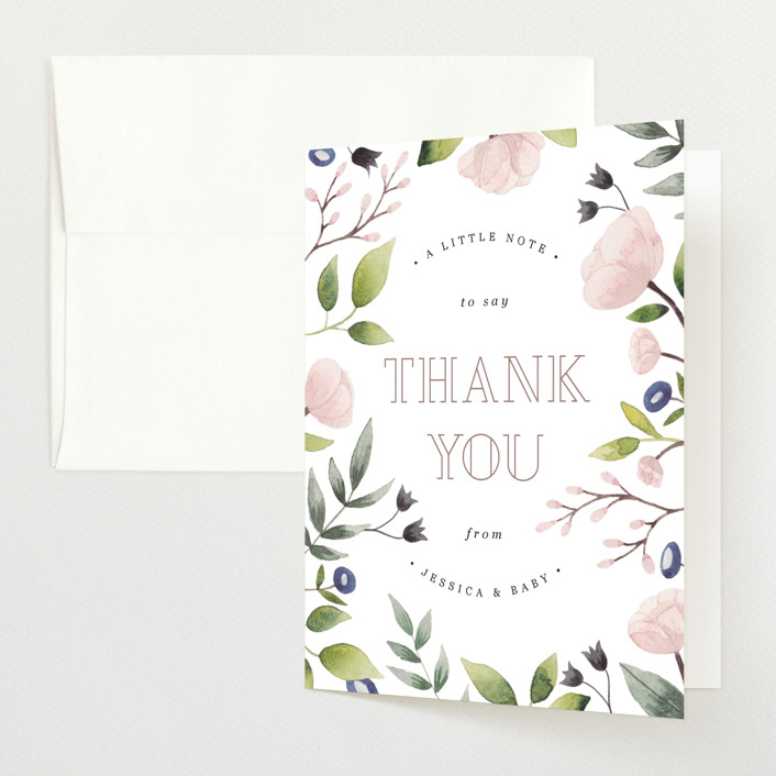 """Flowers for baby"" - Baby Shower Thank You Cards in Rose by Yuliya Evseeva."