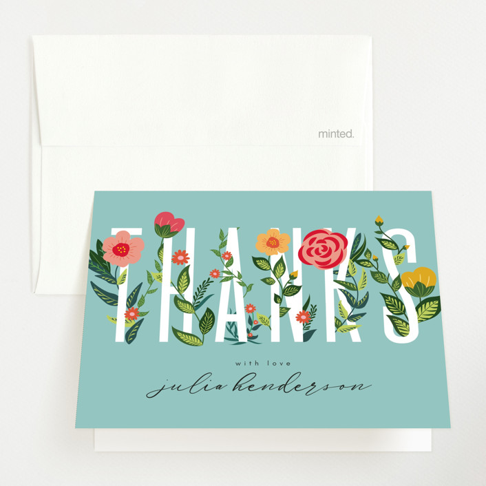"""""""Flowery Oh Baby"""" - Baby Shower Thank You Cards in Teal by Kann Orasie."""