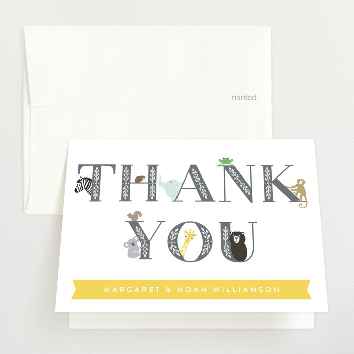 """Animal Baby"" - Whimsical & Funny Baby Shower Thank You Cards in Charcoal by Basil Design Studio."