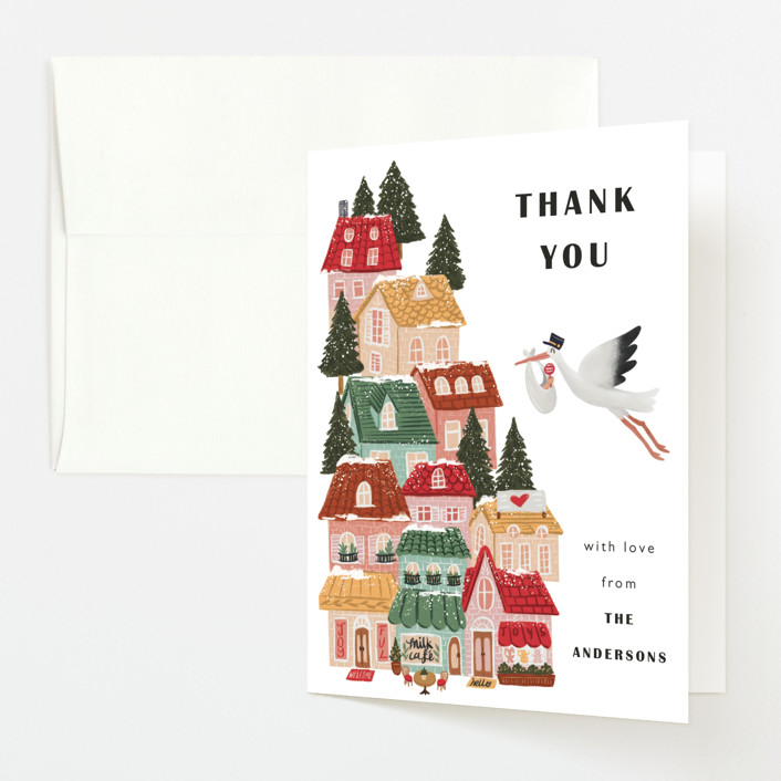 """It Takes A Village"" - Whimsical & Funny Baby Shower Thank You Cards in Rouge by Elly."