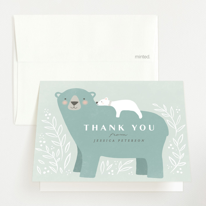 """""""Mama Bear"""" - Whimsical & Funny Baby Shower Thank You Cards in Lake by Karidy Walker."""