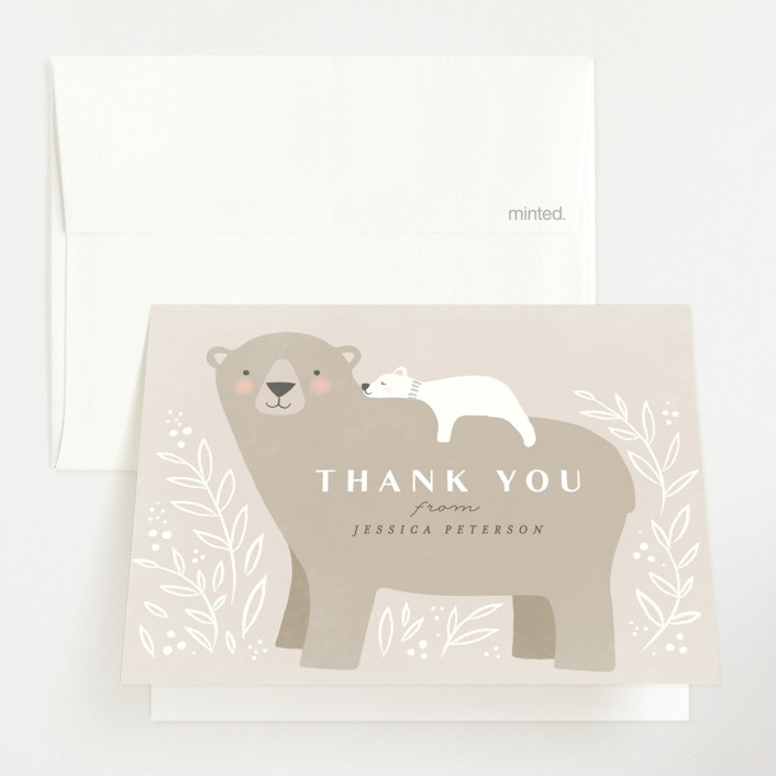 """""""Mama Bear"""" - Whimsical & Funny Baby Shower Thank You Cards in Cashmere by Karidy Walker."""