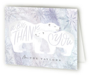 This is a blue baby shower thank you card by Alethea and Ruth called Snow Bear Hug with standard printing on strathmore in standard.