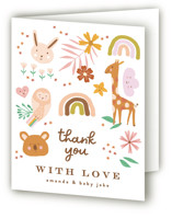 This is a brown baby shower thank you card by Phrosne Ras called safari baby with standard printing on strathmore in standard.
